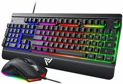 VictSing Wired Gaming Keyboard and Mouse Combo, Metallic Rai