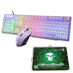 LexonElec Wired Keyboard Mouse Combo Gamer T6 Rainbow LED Ba