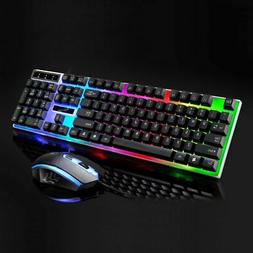 wired led backlit ergonomic gaming keyboard gamer
