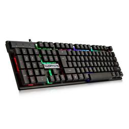 Wired Mechanical Gaming Keyboard Colourful LED Backlight 104
