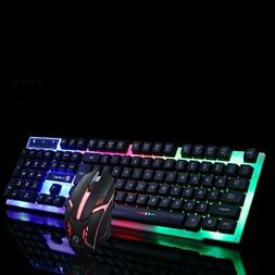 Wired PC Rainbow Gaming Keyboard Mouse Set