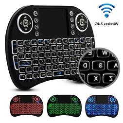 Wireless Gaming Keyboard Backlit LED Mini and Built-In Mouse