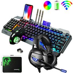 Wireless Gaming Keyboard Mouse and Headset Combo RGB Backlit